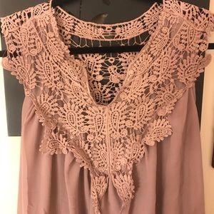 Blush Lace sleeveless dress.